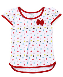 Babyhug Cap Sleeves Top Polka Dot Print - White Red