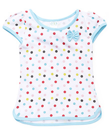 Babyhug Cap Sleeves Top Polka Dot Print - White Sky Blue