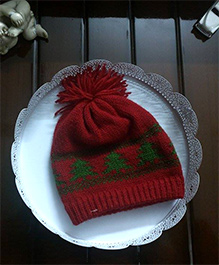 The Original Knit Christmas Tree Applique Woolen Cap With Pom Pom - Red & Green