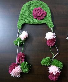 The Original Knit Flower Applique Pom Pom Cap - Green