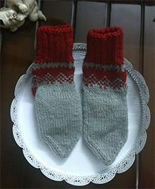 The Original Knit Warm And Cozy Socks - Grey & Red
