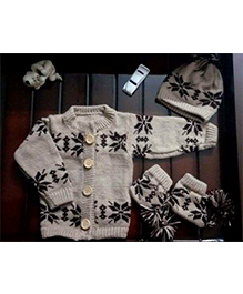 The Original Knit Stylish & Warm Sweater Set - Beige & Brown