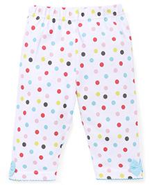 Babyhug Capri Leggings Polka Dotted With Bow - White Multi Color