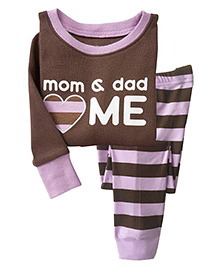Adores Mom & Dad Me Print Night Suit - Brown
