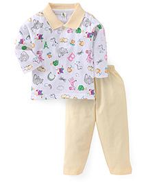 Cucumber Full Sleeves T-Shirt And Pajma Animals Print - White Yellow