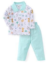 Cucumber Full Sleeves T-Shirt And Pajama Animals Print - White Sea Green