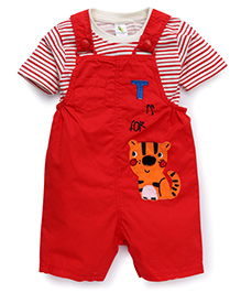 Cucumber Dungaree With Striped Tee Tiger Patch - Red
