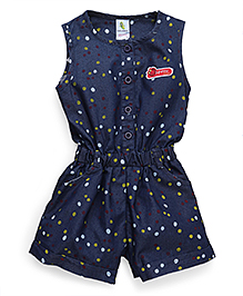 Cucumber Sleeveless Jumpsuit Dots Print - Blue Red