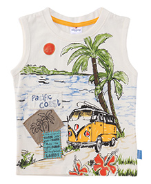 Ollypop Sleeveless T-Shirt Pacific Coast Print - Cream And Multi Color