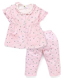 Cucumber Half Sleeves Night Suit Floral Print - Pink