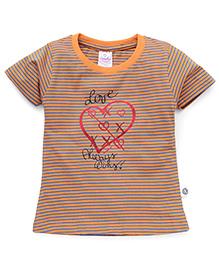 Cucumber Short Sleeves Top Love Always Wins Print - Orange