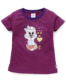 Cucumber Short Sleeves Top Puppy Print - Purple