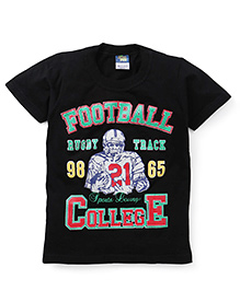 Cucu Fun Half Sleeves T-Shirt Football Print - Black