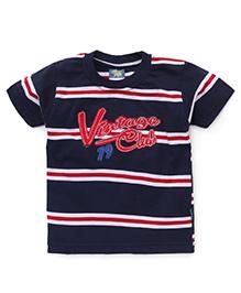 Cucu Fun Half Sleeves T-Shirt Vintage Club Patch - Blue