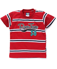 Cucu Fun Half Sleeves T-Shirt Racer Team Embroidered Patch - Red