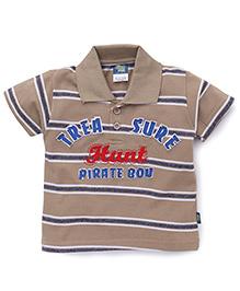 Cucu Fun Half Sleeves T-Shirt Treasure Hunt Patch - Brown
