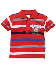 Cucu Fun Half Sleeves T-Shirt Lucky Team Print - Red