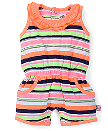 ToffyHouse Sleeveless Stripe Print Romper - Multicolor