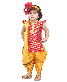 Chubby Cheeks Short Sleeves Kurti And Dhoti Salwar With Dupatta - Pink Yellow