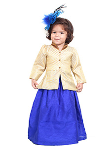 Chubby Cheeks Full Sleeves Kurti And Lehenga - Royal Blue Golden