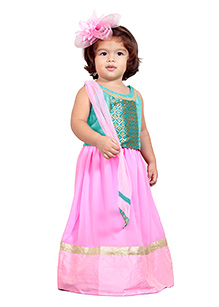 Chubby Cheeks Sleeveless Choli And Lehenga With Dupatta - Pink Sea Green