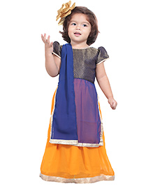 Chubby Cheeks Short Sleeves Kurti And Lehenga With Dupatta - Blue Orange
