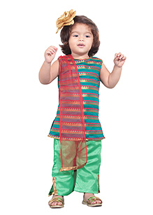 Chubby Cheeks Sleeveless Kurti And Salwar Pants With Dupatta - Green Red