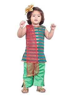 Chubby Cheeks Sleeveless Kurti And Salwar Pants With Dupatta - Green Red