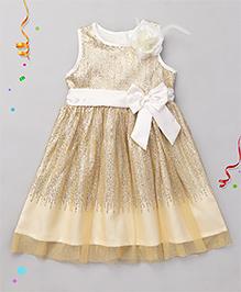 Babyhug Sleeveless Sequined Partywear Frock - Ivory
