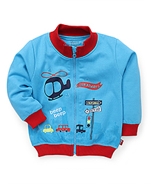 Bodycare Full Sleeves Sweat Jacket Helicopter Print - Blue
