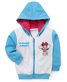 Bodycare Full Sleeves Hooded Jacket Minnie Mouse Print - White Blue