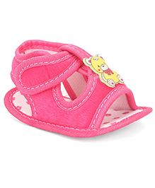 Jute Baby Sandals Style Booties Bear Applique - Pink
