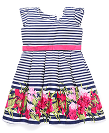 Doodle Short Sleeves Stripe Frock Floral Print - Pink Navy