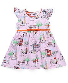 Doodle Short Sleeves Frock - Pink