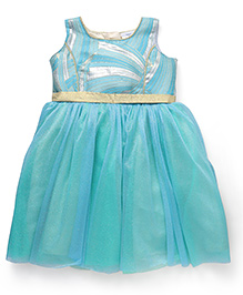 Doodle Sleeveless Party Dress - Sea Green