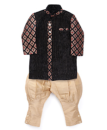 Robo Fry Ethnic Jacket And Jodhpuri Breeches Set - Black