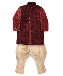 Robo Fry Ethnic Jacket And Jodhpuri Breeches Set - Maroon