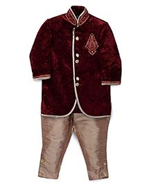 Robo Fry Ethnic Jacket And Pyjamas Set - Maroon