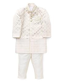 Robo Fry Full Sleeves Jacket And Jodhpuri Pants - Cream