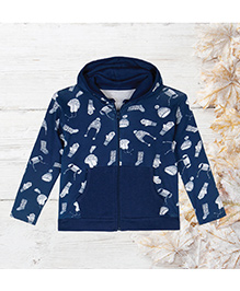 Chic Bambino Hoodie With Winter Design - Blue & White