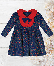 Chic Bambino Fox Design Dress With Frilled Bib - Navy Blue & Red