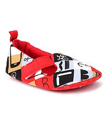 Ivee Anchor & Cycle Print Booties - Red