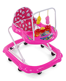 Musical Baby Walker With Hanging Toys Baymax Print - Pink