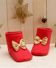 D'chica Shiny Golden Bows Soft Soled Boots For Baby Girls - Coral