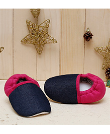 D'chica Chic Loafer Booties  - Blue & Fuchsia