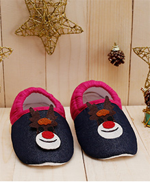 D'chica Adorable Reindeer Themed Booties For Baby Girls - Fuchsia & Blue