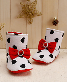 D'chica Hearts & Bows Soft Soled Boots For Baby Girls - White Black & Red