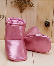 D'chica Shiny Soft Soled Boots - Pink