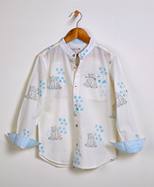 Liz Jacob Polar Bear Hugs Shirt - Cream & Blue