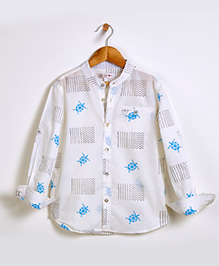 Liz Jacob Turtle Bay Shirt - Cream & Blue